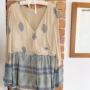 Free People Bell Sleeve Tan & Turquoise Romper M
